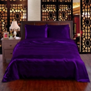 Purple 6pc Satin Panel Double Bed Duvet Quilt Cover Set