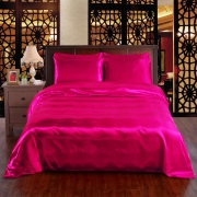 Fuchsia Pink 6pc Satin Panel Double Bed Duvet Quilt Cover Set