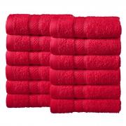 Bale Set 12pcs Red Plain Face Towel
