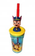 Paw Patrol Chase Figurine '3d Head' Bottle with Straw