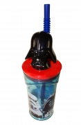 Disney Star Wars Darth Vader Figurine '3d Head' Bottle with Straw