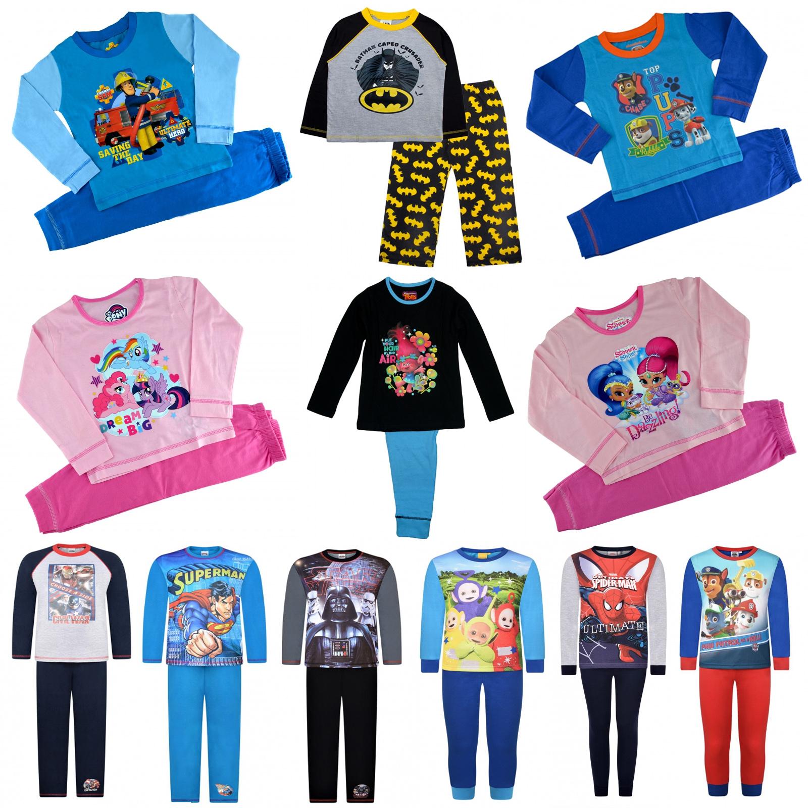 Offcial Kids Characters Disney Marvel Boys Girls 2pcs Pyjamas Set Sleepwear PJs